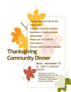 Thanksgiving Dinner flyer 2014